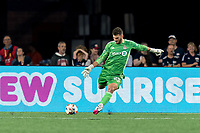 FOXBOROUGH, MA - JULY 7: Alex Bono #25 of Toronto FC passes the ball during a game between Toronto FC and New England Revolution at Gillette Stadium on July 7, 2021 in Foxborough, Massachusetts.