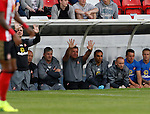 Hartlepool United 0 Sunderland 3, 20/07/2016. Victoria Park, Pre Season Friendly. Sam Allardyce Manager of Sunderland waves to the Sunderland fans. Photo by Paul Thompson.