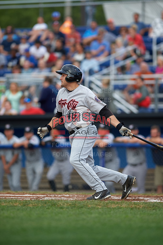 Tri-City ValleyCats first baseman Jake Adams (48) bats during a game against the Batavia Muckdogs on July 14, 2017 at Dwyer Stadium in Batavia, New York.  Batavia defeated Tri-City 8-4.  (Mike Janes/Four Seam Images)