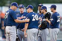 Huntsville Stars pitching coach Chris Hook (37) talks with pitcher Derek Miller (20) and the entire Stars infield at the Baseball Grounds in Jacksonville, FL, Thursday June 12, 2008.