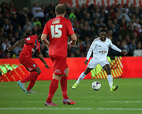 Pictured: Nathan Dyer of Swansea (R) Tuesday 25 August 2015<br /> Re: Capital One Cup, Round Two, Swansea City v York City at the Liberty Stadium, Swansea, UK.