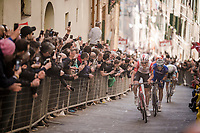 with all podium spots gone, defending race champion is making a run for 4th up the infamous, brutal last city climb towards the finish<br /> <br /> 13th Strade Bianche 2019 (1.UWT)<br /> One day race from Siena to Siena (184km)<br /> <br /> ©kramon
