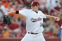 Starting pitcher Jordan Montgomery (34) of the South Carolina Gamecocks in an NCAA Division I Baseball Regional Tournament game against the Campbell Camels on Friday, May 30, 2014, at Carolina Stadium in Columbia, South Carolina. South Carolina won, 5-2. (Tom Priddy/Four Seam Images)