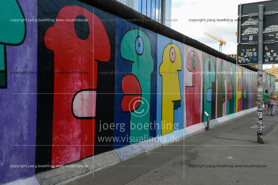 Germany, Berlin, The wall, East side gallery, wall paintíngs and murals about the cold war and walls