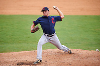 Pitcher Jake Agnos (34) of Battlefield High School in Haymarket, Virginia playing for the Cleveland Indians scout team during the East Coast Pro Showcase on July 29, 2015 at George M. Steinbrenner Field in Tampa, Florida.  (Mike Janes/Four Seam Images)