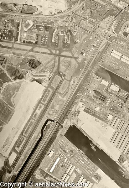 historical aerial photograph Newark Liberty International Airport (EWR), Newark, Essex County,  New Jersey, 1966