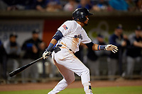 Pensacola Blue Wahoos Luis Arraez (1) hits a single during a Southern League game against the Biloxi Shuckers on May 3, 2019 at Admiral Fetterman Field in Pensacola, Florida.  Pensacola defeated Biloxi 10-8.  (Mike Janes/Four Seam Images)