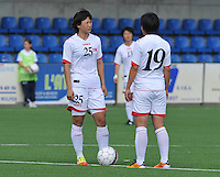 Belgium A - North Korea friendly game at Koksijde KVV Stadium - Belgie - Noord Korea : 19. Kwon Song Mwa en 25. Yun Hyon Hui..foto David Catry / Joke Vuylsteke / Vrouwenteam.be