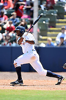 Huntsville Stars outfielder D' Vontrey Richardson (21) during a game against the Mobile BayBears on April 23, 2014 at Joe Davis Stadium in Huntsville, Tennessee.  Huntsville defeated Mobile 4-1.  (Mike Janes/Four Seam Images)