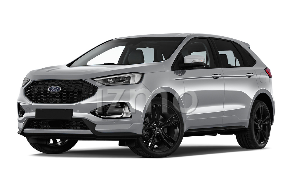 Stock pictures of low aggressive front three quarter view of a 2019 Ford Edge ST Line 5 Door SUV
