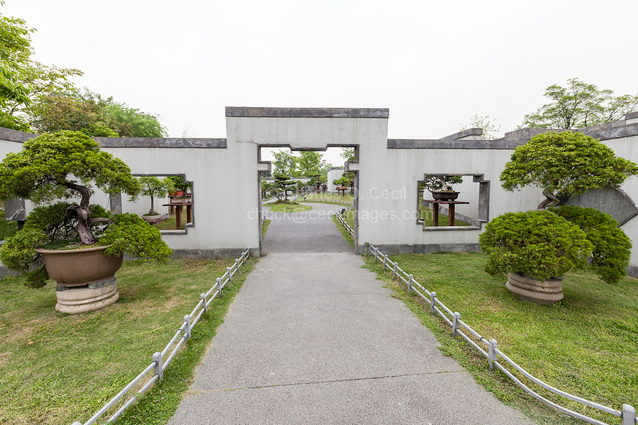 Yangzhou, Jiangsu, China.  Entrance to the Bonsai Garden, Slender West Lake Park.