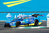 23rd August 2020, Lausitz Circuit, Klettwitz, Brandenburg, Germany. The Deutsche Tourenwagen Masters (DTM) race at Lausitz;  Robin Frijns, Audi Team Abt Sportsline, Audi RS5 DTM  over the curbing