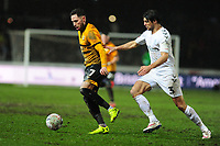 Robbie Willmott of Newport County battles with George Friend of Middlesbrough during the FA Cup Fourth Round Replay match between Newport County and Middlesbrough at Rodney Parade in Newport, Wales, UK. Tuesday 05 February 2019