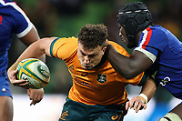 13th July 2021; AAMI Park, Melbourne, Victoria, Australia; International test rugby, Australia versus France; Tom Banks of Australia runs with the ball under pressure