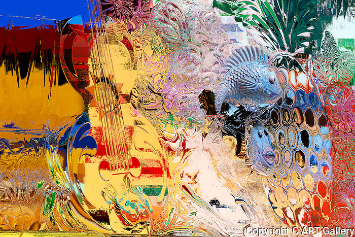 Sea life and guitar in conflict.