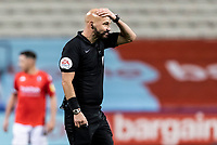 Referee Darren Drysdale gestures <br /> <br /> Photographer Andrew Kearns/CameraSport<br /> <br /> The EFL Sky Bet League Two - Bolton Wanderers v Salford City - Friday 13th November 2020 - University of Bolton Stadium - Bolton<br /> <br /> World Copyright © 2020 CameraSport. All rights reserved. 43 Linden Ave. Countesthorpe. Leicester. England. LE8 5PG - Tel: +44 (0) 116 277 4147 - admin@camerasport.com - www.camerasport.com