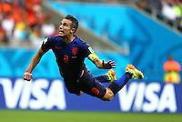 Robin Van Persie of Netherlands flies through the air as he heads the equalising goal, 1-1