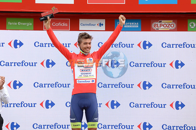 Race leader Odd Christian Eiking (NOR) Intermarché-Wanty-Gobert Matériaux retains the Red Jersey at the end of Stage 15 of La Vuelta d'Espana 2021, running 197.5km from Navalmoral de la Mata to El Barraco, Spain. 29th August 2021.     <br /> Picture: Cxcling | Cyclefile<br /> <br /> All photos usage must carry mandatory copyright credit (© Cyclefile | Cxcling)