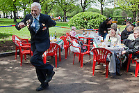 Moscow, Russia, 09/05/2011..A veteran dancing as Russian World War Two veterans and well-wishers gather in Gorky Park during the country's annual Victory Day celebrations.
