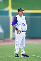 Winston-Salem Dash manager Tommy Thompson (39) coaches third base during the game against the Myrtle Beach Pelicans at BB&T Ballpark on July 16, 2014 in Winston-Salem, North Carolina.  The Pelicans defeated the Dash 6-2.   (Brian Westerholt/Four Seam Images)