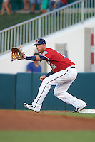 Fort Myers Miracle first baseman Bryan Haar (23) stretches for a throw during a game against the Daytona Tortugas on June 17, 2015 at Hammond Stadium in Fort Myers, Florida.  Fort Myers defeated Daytona 9-5.  (Mike Janes/Four Seam Images)
