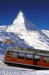 Switzerland, Valais, Zermatt, Gornergrat railway and Matterhorn Mountain (4.478 m), the oldest electical powered rack railway of Switzerland