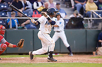 Everett AquaSox outfielder Jamodrick McGruder #20 at bat during a game against the Spokane Indians at Everett Memorial Stadium on June 20, 2012 in Everett, WA.  Everett defeated Spokane 9-8 in 13 innings.  (Ronnie Allen/Four Seam Images)