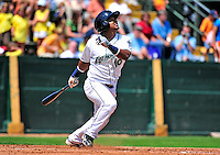 15 July 2010: Vermont Lake Monsters' infielder Hendry Jimenez in action against the Aberdeen IronBirds at Centennial Field in Burlington, Vermont. The Lake Monsters rallied in the bottom of the 9th inning to defeat the IronBirds 7-6 notching their league leading 20th win of the 2010 NY Penn League season. Mandatory Credit: Ed Wolfstein Photo