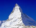 Switzerland, Valais, view from Zermatt at Matterhorn Mountain (4.478 m)