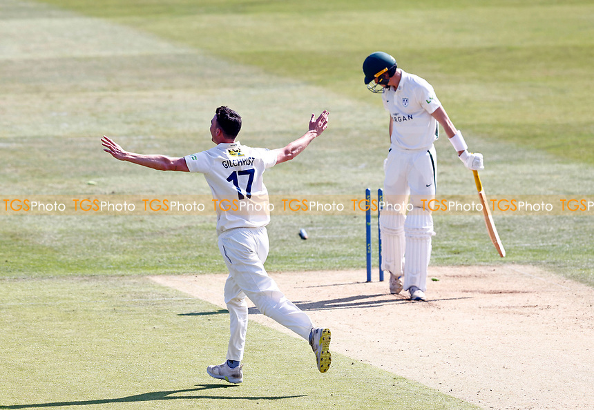 Nathan Gilchrist of Kent celebrates bowling Josh Baker during Kent CCC vs Worcestershire CCC, LV Insurance County Championship Division 3 Cricket at The Spitfire Ground on 5th September 2021