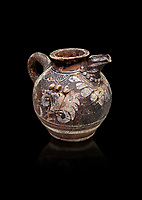Minoan Kamares Ware ewer jug with polychrome decorations , Phaistos 1800-1700 BC; Heraklion Archaeological  Museum, black background.<br /> <br /> This style of pottery is named afetr Kamares cave where this style of pottery was first found