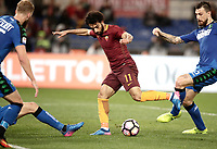 Calcio, Serie A: Roma, stadio Olimpico, 19 marzo, 2017<br /> Roma's Mohamed Salah scores during the Italian Serie A football match between Roma and Sassuolo at Rome's Olympic stadium, March 19, 2017<br /> UPDATE IMAGES PRESS/Isabella Bonotto