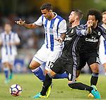 Real Sociedad's William Jose (l) and Real Madrid's Sergio Ramos during La Liga match. August 21,2016. (ALTERPHOTOS/Acero)