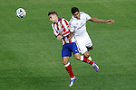 Atletico de Madrid's Antoine Griezmann (l) and Real Madrid's Raphael Varane during Supercup of Spain 2nd match.August 19,2014. (ALTERPHOTOS/Acero)