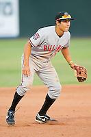 Billings Mustangs third baseman Seth Mejias-Brean (13) on defense against the Grand Junction Rockies at Suplizio Field on July 24, 2012 in Grand Junction, Colorado.  The Rockies defeated the Mustangs 4-3.  (Brian Westerholt/Four Seam Images)