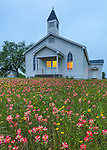 Gonzales County, Texas: Cheapside Interdenominational Community Church set in a field wildflowers at dusk