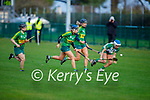 Meath's Megan Thynne races to the sliotar as Kerrys Caoimhe Spillane, Ann Marie Leen and Norette Casey gives chase in the Camogie Intermediate Championship