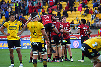 The Crusaders celebrate winning the Super Rugby Aotearoa match between the Hurricanes and Crusaders at Sky Stadium in Wellington, New Zealand on Sunday, 11 April 2020. Photo: Dave Lintott / lintottphoto.co.nz