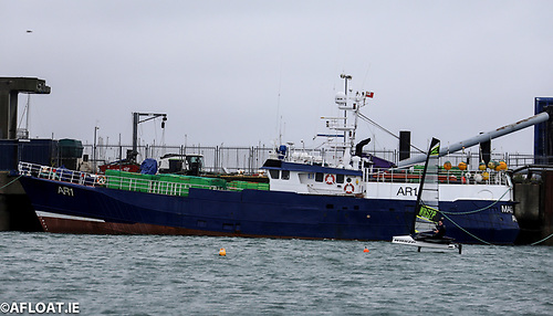 Magan D alongside at Dun Laoghaire Harbour. The trawler was first reported to be in trouble on March 6th when it was 27 nautical miles off the Welsh coast and experiencing engine failure