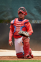 GCL Phillies East catcher Juan Aparicio (4) warms up a pitcher in the bullpen during a game against the GCL Blue Jays on August 10, 2018 at Carpenter Complex in Clearwater, Florida.  GCL Blue Jays defeated GCL Phillies East 8-3.  (Mike Janes/Four Seam Images)