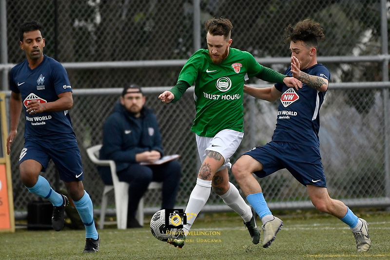 Jared Cunniff of the Wairarapa United competes for the ball with Noah Tipene-Clegg of the North Wellington FC during the Central League Football -  North Wellington FC v Wairarapa United at Alex Moore Park ( Alex Moore Artificial) / Johnsonville / New Zealand on Saturday 29 May 2021.<br /> Copyright photo: Masanori Udagawa /  www.photosport.nz