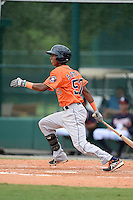 Houston Astros infielder Jeffry Santos (57) during an Instructional League game against the Atlanta Braves on September 22, 2014 at the ESPN Wide World of Sports Complex in Kissimmee, Florida.  (Mike Janes/Four Seam Images)