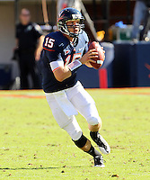 Oct 2, 2010; Charlottesville, VA, USA; Virginia Cavaliers quarterback Ross Metheny (15) looks to throw during the game against the Florida State Seminoles at Scott Stadium. Florida State won 34-14.  Mandatory Credit: Andrew Shurtleff