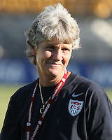 Pia Sundhage coach of the USA WNT during an international friendly match against the PRC WNT at KSU Soccer Stadium, on October 2 2010 in Kennesaw, Georgia.USA won 2-1.