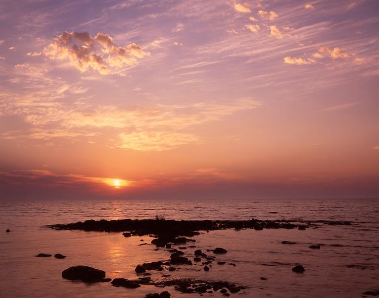 Sunrise light on Lake Michigan; Newport State Park, WI