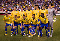 The Brazil starting eleven line up before their international friendly at the New Meadowlands Stadium in East Rutherford, NJ. Brazil defeated the USMNT, 2-0.