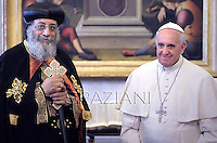 Pope Francis receives  the Coptic Orthodox leader Tawadros II at the Vatican.May 10,2013