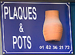 Sign, Plaques Et Pots Shop, Paris, France, Europe