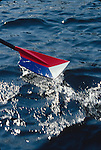 Rowing, U.S. National Rowing Team oar, Red White and Blue design signifies the rower has made the team. The rowing oar is also known as a blade and this shape of oar a hatchet. .