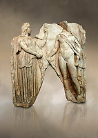 Roman Sebasteion relief  sculpture of Demeter and Triptolemos, Aphrodisias Museum, Aphrodisias, Turkey.  Against an art background.<br /> <br /> Deneter - stately, veiled and holding a sceptre - hands a bunch of wheat stalks to the young hero Trptolomos. Demeter was the grain goddess, and it was Triptolemos, a hero from Eleusis near Athens, whom she chose to bring grain cultivation to mankind